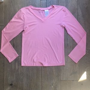 Nike Dri-Fit pink V neck long sleeve athletic top